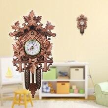 Винтаж настенные часы с кукушкой книги по искусству Chic маятниковые часы ремесло птица дерево висит украшения для дома Кафе Ресторан гостиная