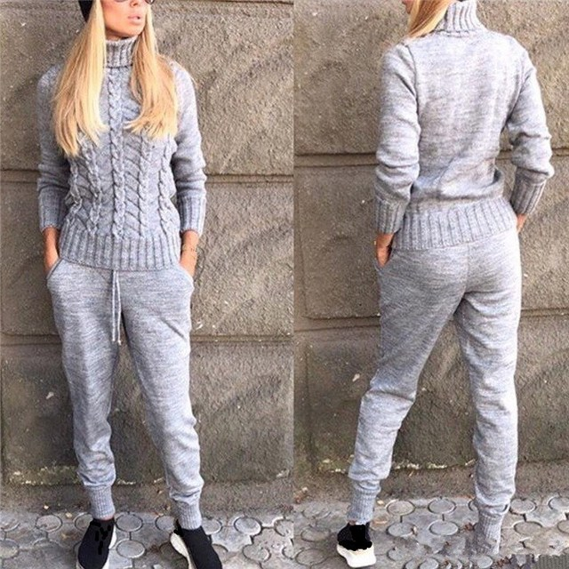 Winter Casual Knitted Warm Suit Turtleneck Sweater   Mink Cashmere Pants Loose Two-Piece Set Knit Tracksuit
