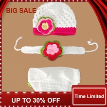New Infant  Knitted Cotton Crochet Costume Photo baby Photography Prop Newborn clothes Diaper & hat headband
