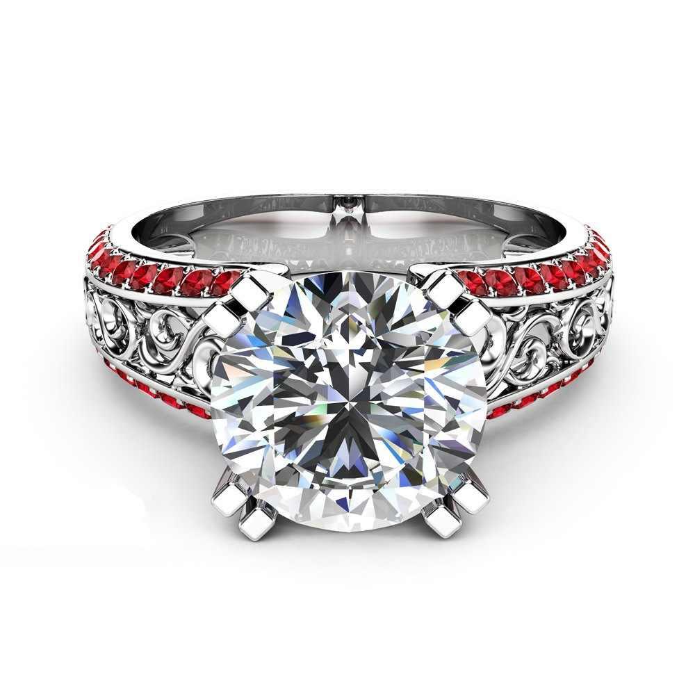 Blue Sapphire แหวนดอกไม้ 14K สีทองเพชร Bizuteria Peridot Anillos De พลอยทับทิม 1 กะรัต Dainty วงกลมแหวนสำหรับสตรี