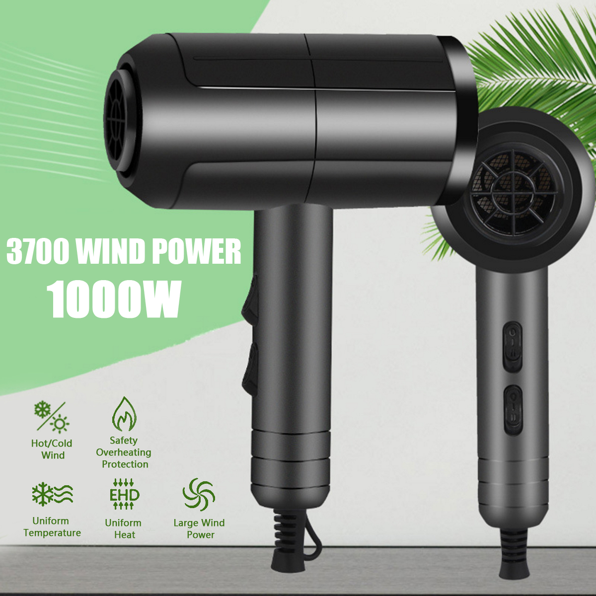 Black Professional Anion Hair Dryer Large Power Hair Repairing Hairdryer Air Blower Constant Temperature Blower 2000W 220V цена и фото