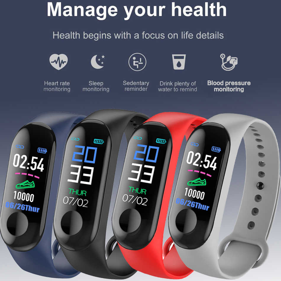 Smart Bracelet Color Touch Screen Fitness Tracker Blood Pressure Heart Rate Monitor Smart Band
