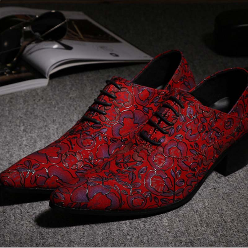 Pointed Toe Lace Up Men Luxury Genuine Leather Red Wedding Shoes Men's High Heels Party Dress Shoes Print Flowers Fashion Shoes