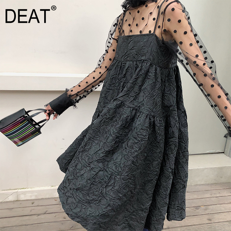 DEAT 2020 New Summer Dress Women Japan Styles Straps Off-the Shoulder Flat Bust Lady's A-line Dresses Vintage Female WE30907M