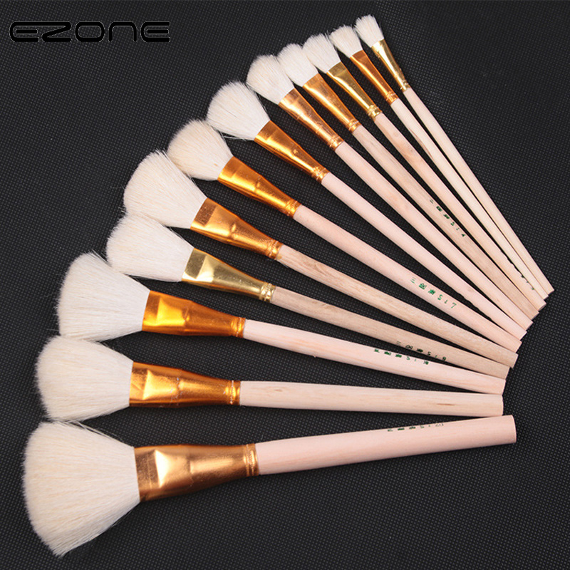 EZONE 1PC Wool Hair Paint Brush For Watercolor Oil Painting Wooden Handel Different Size Brush Acrylic Gouache Drawing Art Tools