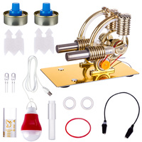 2019 New L Shape Double Cylinders Stirling Engine Model with All metal Base and Big Bulb (Random Color) Golden Drop Shipping