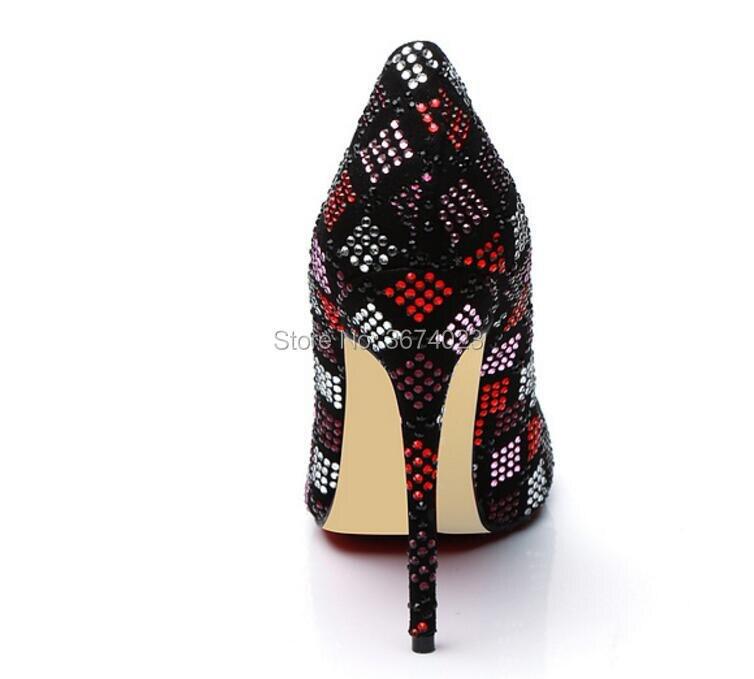 Nouvelle Femmes Mariage Bout De Multi Stilettos Lady couleur Pointu Diamants Chaussures Talons Qianruiti Pompes Robe Cristal Soirée HWEYID29