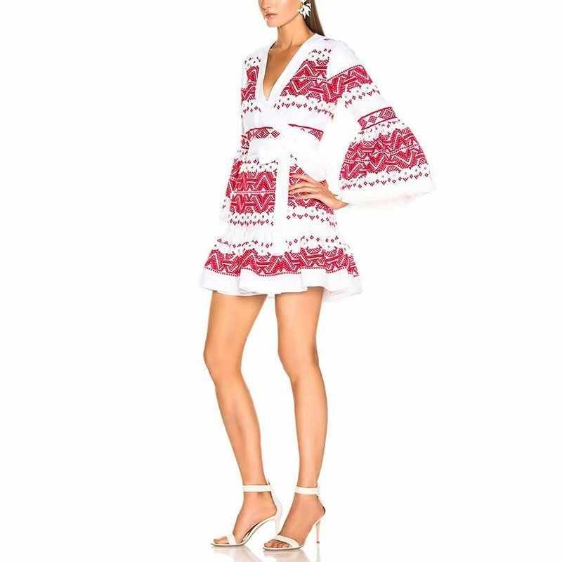 Женское лоскутное платье TWOTWINSTYLE, синее, красное, облегающее, повседневное платье с V-образным вырезом, длинным рукавом и высокой талией, 2019