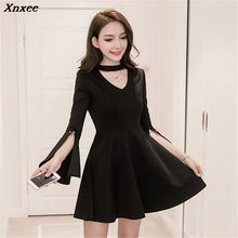 New Summer Lace Dress Women Fashion Clothing Office Flare Long-Sleeved Dresses Black Sexy Hanging Neck  Xnxee