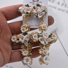 Baroque Big Cross Earrings For Women Long Earrings 2019 Vintage Rhinestone Flower Drop Earrings Fashion Jewelry все цены