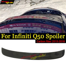 For Infiniti Q50 Tail Rear Roof Window Spoiler Wing Carbon Fiber Q50S 4 Door Auto Racing Car Lip 2015-2018