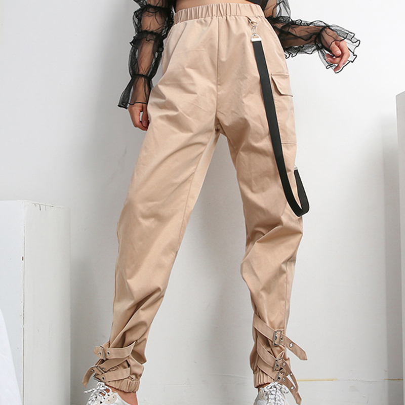 2019 Fashion Women Casual Cargo Pants Capris Elastic High Waist Joggers Buttons Fashion Hip Hop Long Trousers Streetwear Khaki