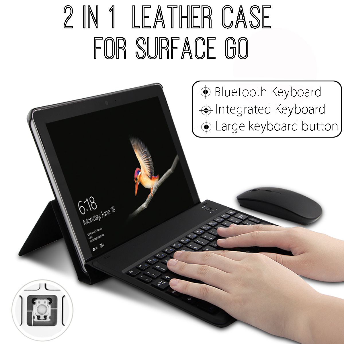 PU Leather Bluetooth Integrated Keyboard Case Folding Stand Cover Protection For Microsoft Surface Go Laptop 10 inch Tablet