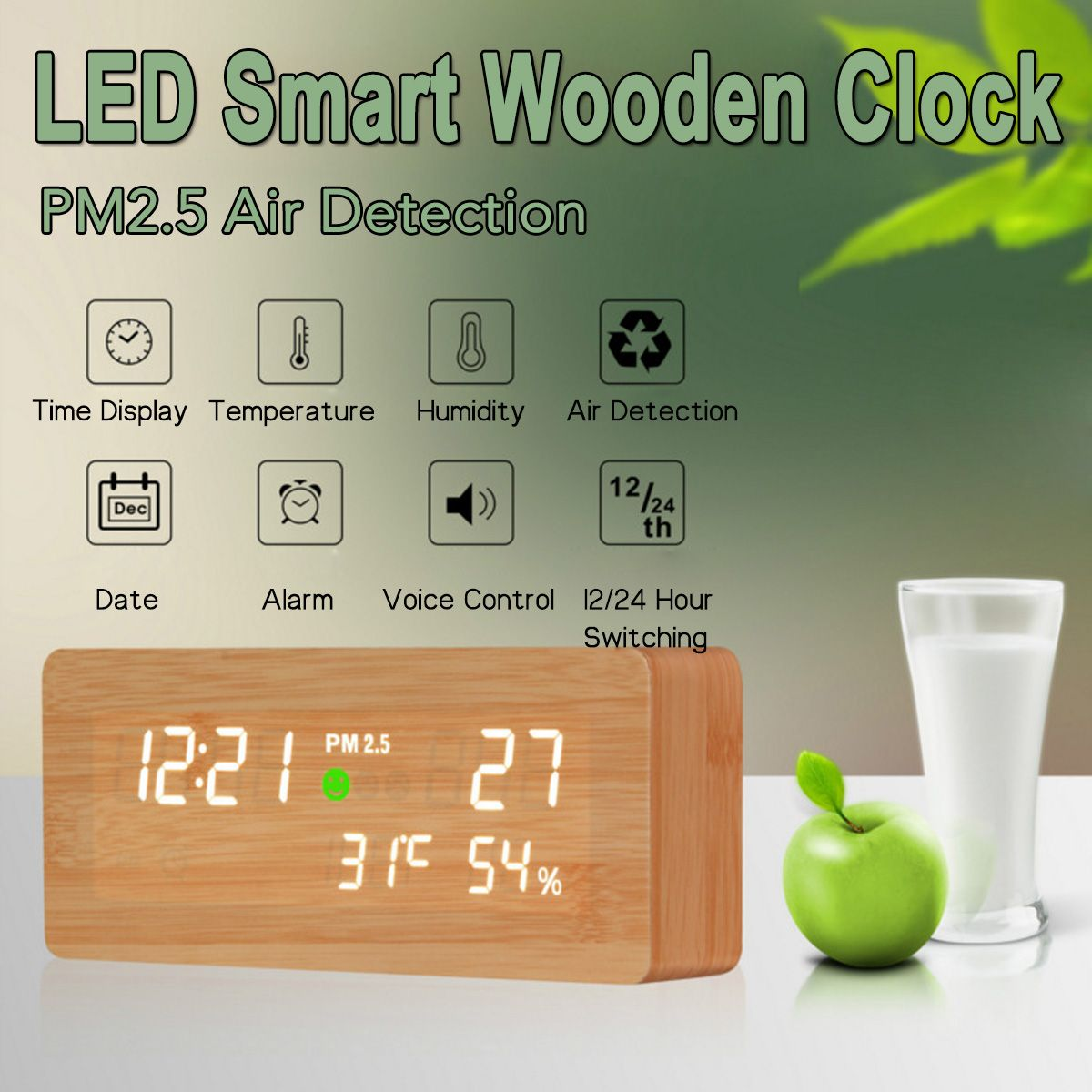 Wooden LED Digital Alarm Clock Air Quality Monitor PM2.5 Detector Tester Gas Analyzer Temperature Humidity Meter Diagnostic