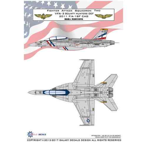 GALAXY 1/48 1/72 G48010 G72015 F/A-18F VFA-2 Bounty Hunters OEF CAG 2011 Decal
