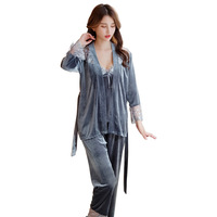 Autumn Women Coat Vest Pants Velour Pajamas Set V Neck Elegant 3Pieces Sleepwear Sexy Lace Patchwork Pajamas Set