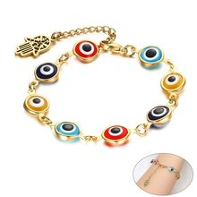 Gold Color Khamsah Charm Bracelets for Women Prayer Gift Jewelry with Eye Beads Charm(China)