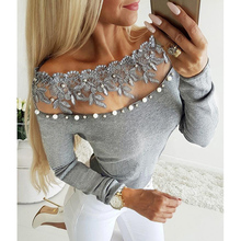 Off shoulder lace bead embellished blouse Women long sleeve slim blouse Spring 2019 beading grey blusas Womens tops and blouses tiered trumpet sleeve pearl embellished blouse