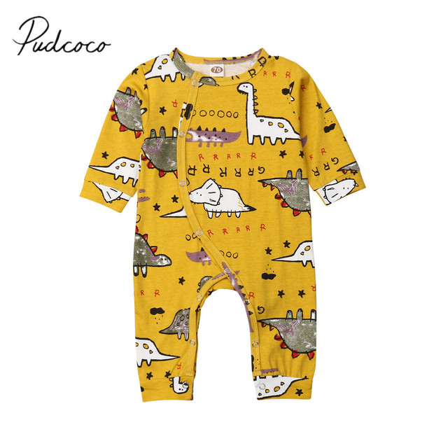 addf9fa33a7 2019 Brand New Newborn Infant Kids Baby Girls Boys Dinosaurs Romper Print  Single Breasted Yellow Jumpsuits