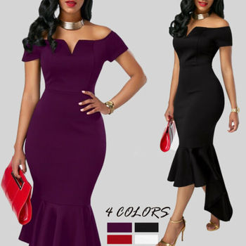 2019 Women Evening Party Club Wear Short Sleeve Off Shoulder Ruffle Asymmetric Midi Dress 1