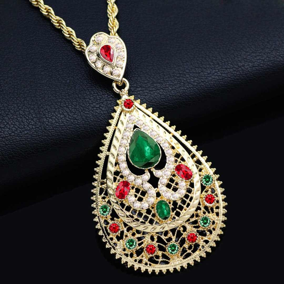 Luxury Gold CZ Waterdrop Pendant Necklace Green Red Austrian Crystal Necklace Middle East Arab Moroccan Jewelry