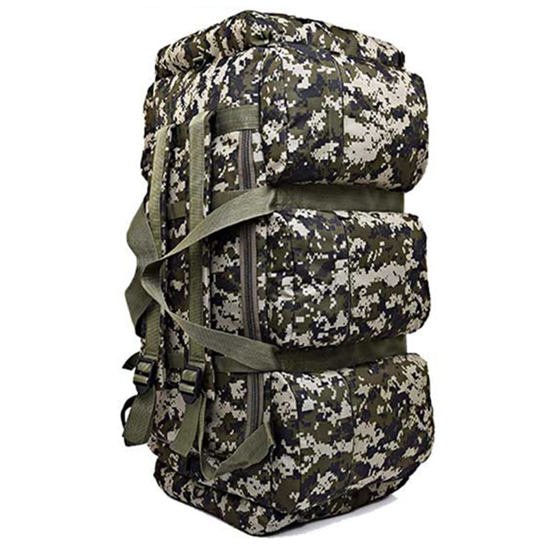90L  Large Capacity Hiking Backpack Military Tactical Pack Camouflage Luggage Bag Camping Tent Quilt Container 9 Pocket