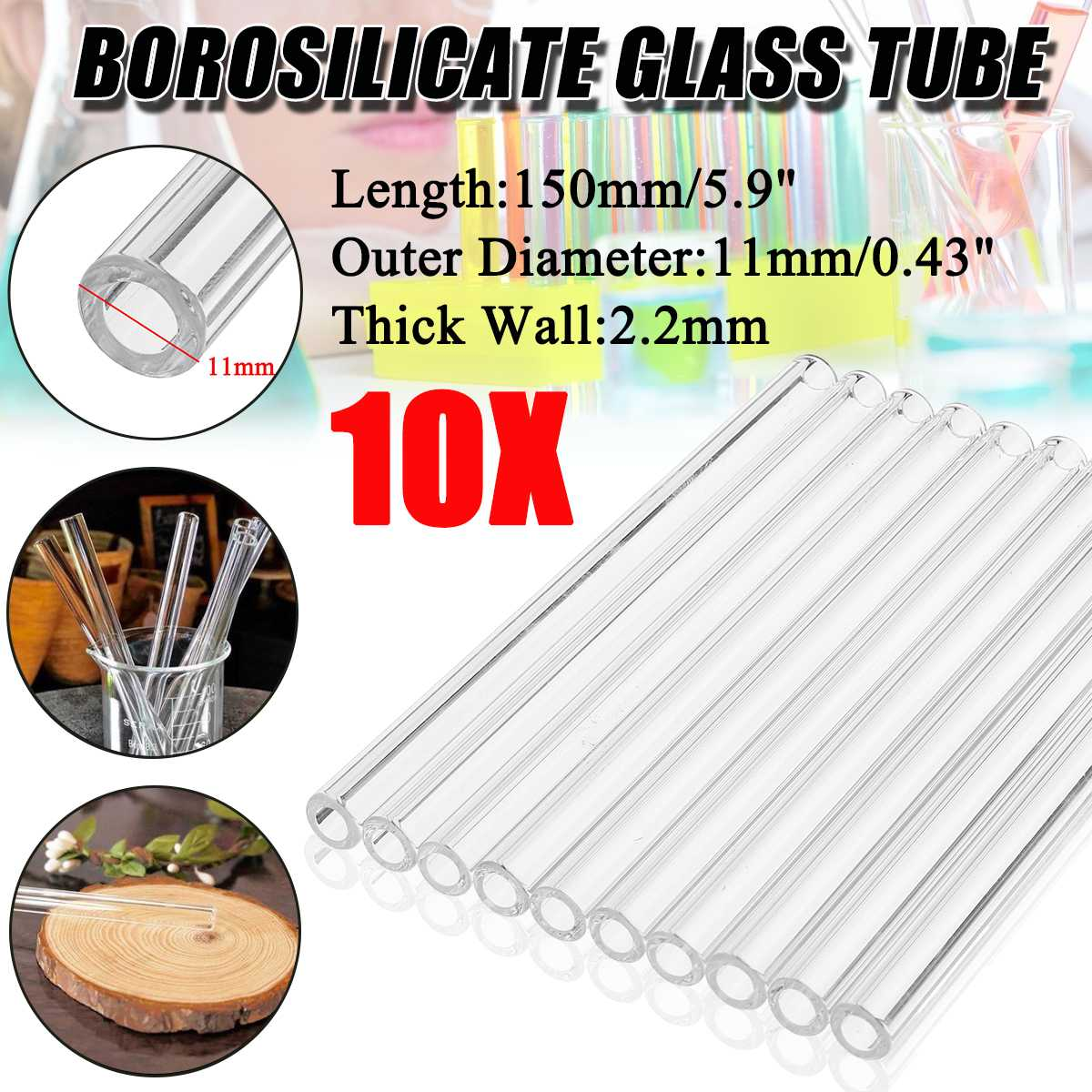 10Pcs 150mm OD 11mm 2.2mm Thick Wall Borosilicate Glass Clear Blowing Test Tube High Resistant Stirrer for School Chemistry Lab10Pcs 150mm OD 11mm 2.2mm Thick Wall Borosilicate Glass Clear Blowing Test Tube High Resistant Stirrer for School Chemistry Lab