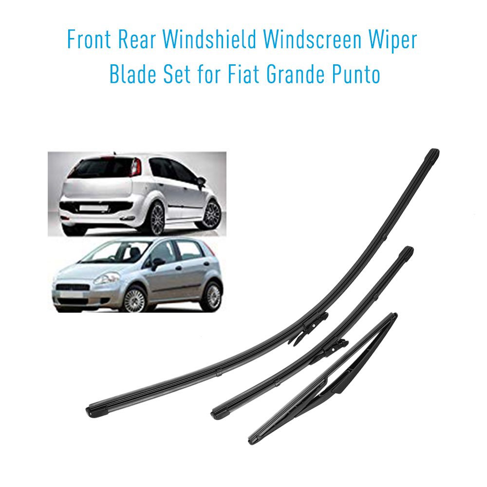 KKMOON 3pcs Front Rear Windshield Wiper Blades Car accessories Fit For Fiat Grande Punto