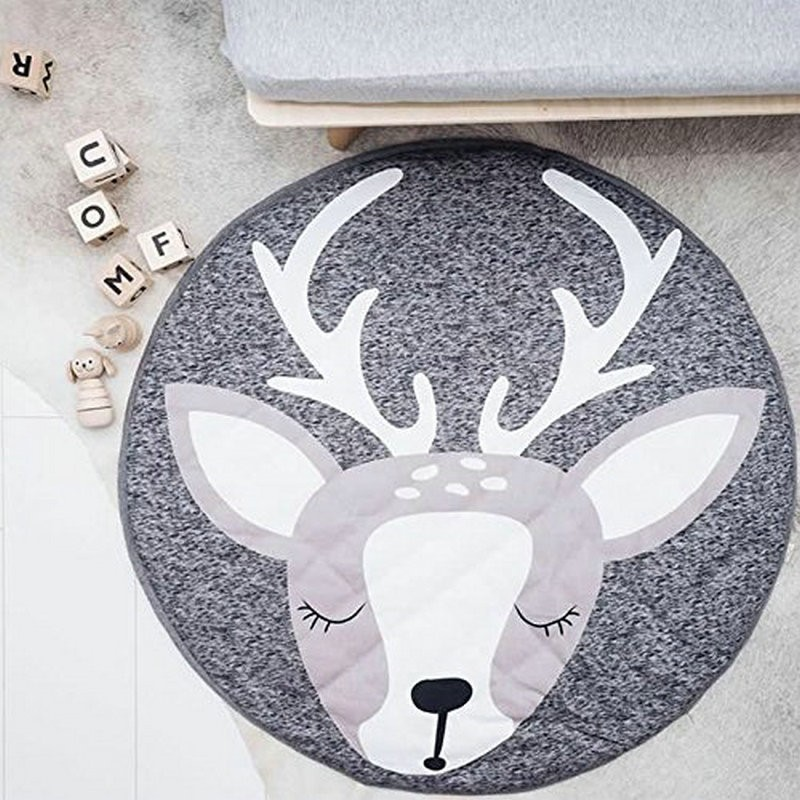 90CM Play Mats Round Floor Carpet Rabbit Deer Animal Soft Cotton Crawling Rug Gym Girl Game For Baby Kids Interior Room Decorate