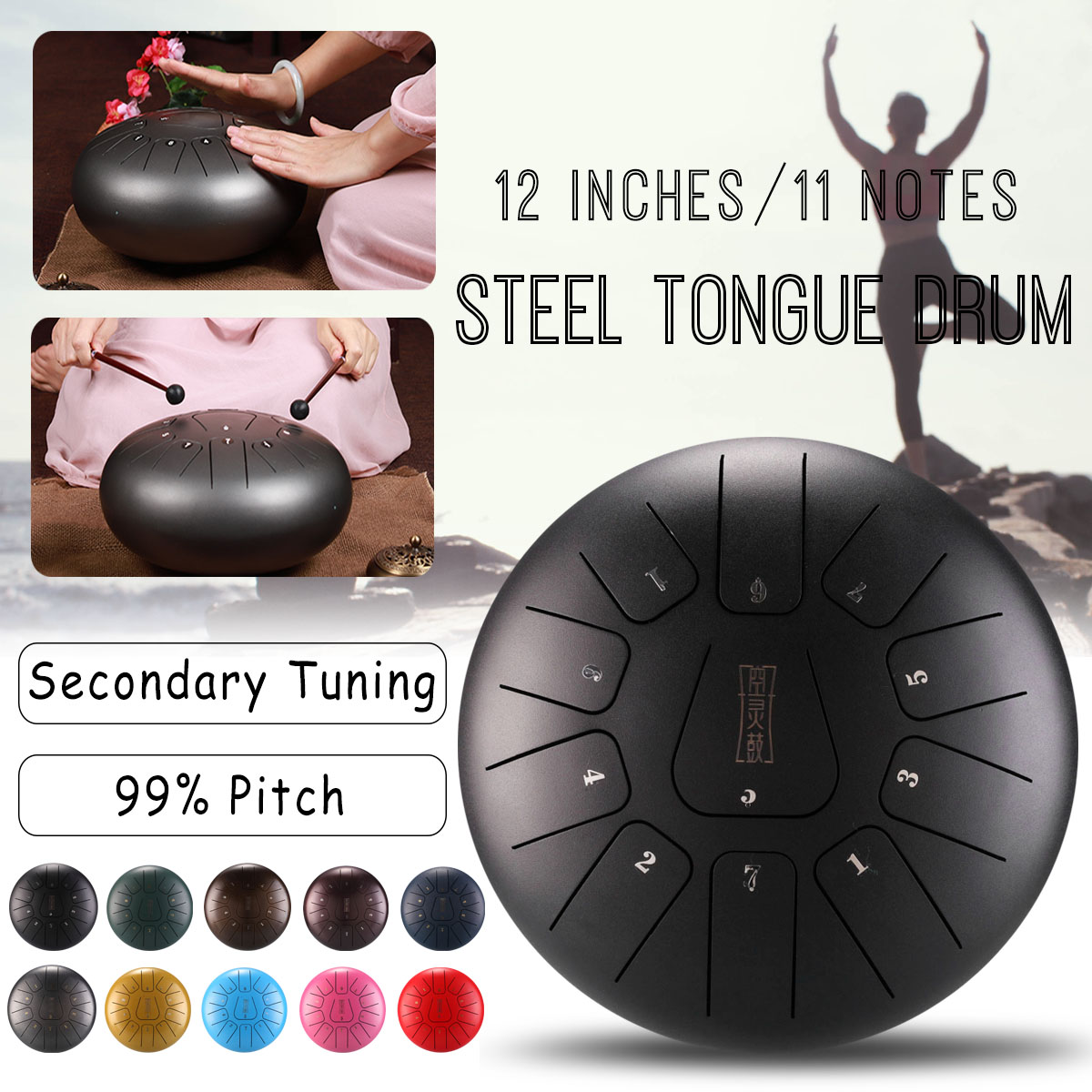 цена SENRHY 12 Inch Steel Tongue Drum Mini 11-Tone Steel Tongue Percussion Drum Handpan Instrument with Drum Mallets and Bag