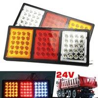 24V DC 60 LED Waterproof Rectangle Tail Warning Lights For Trailer Truck Buses