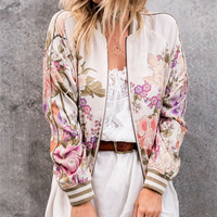 Girl's Bomber Jacket Vintage Floral Print Blue Skies Bomber Jacket with Rayon Cool In Black And Cream Colors for women