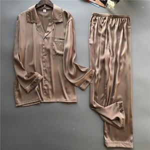Image 4 - 2019 erkek Pijama setleri ile pantolon ipek Pijama İlkbahar yaz Pijama Pijama zarif gecelik Nightsuits