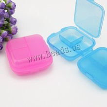 YYW 3 Cells Square Pill Box Jewelry Box Plastic Folding Candy Color Drug Pill Makeup Storage Case Container Box