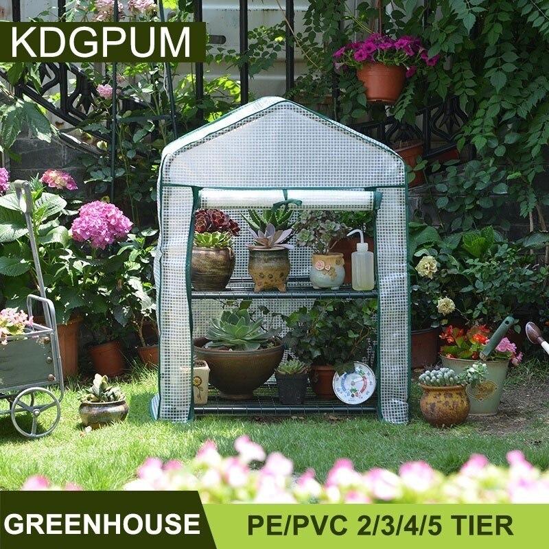 €75.88 42% de réduction|2/3/4 niveaux PE/PVC plantes imperméables serre  chaude jardin vert maison Mini ménage Invernadero fleurs plante serre ...