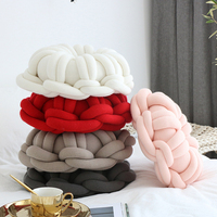 Handmade Woven Knot Ball Soft Plush Knitted Home Pillows Solid Donuts Design Throw Pillow with Pillow Core Office Car Seat 2019