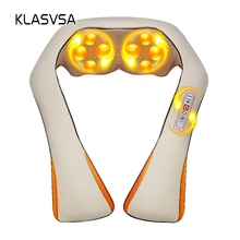 KLASVSA Electric Heating Neck Massager Cape Shiatsu Car Home Infrared KneadingTherapy Ache Shoulder Back Massageador Relax(China)
