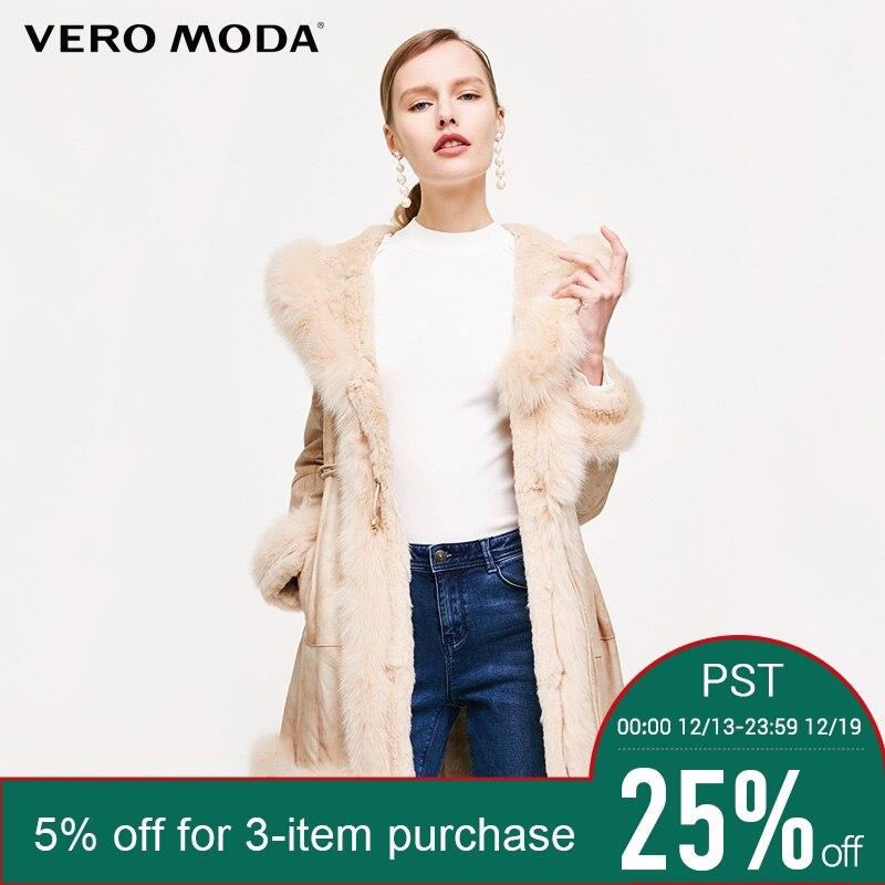 Vero Moda Marque 2018 NOUVELLE peau de porc lapin renard de cheveux fourrure splice poche latérale mi-longueur survêtement femmes en cuir manteaux | 317428507