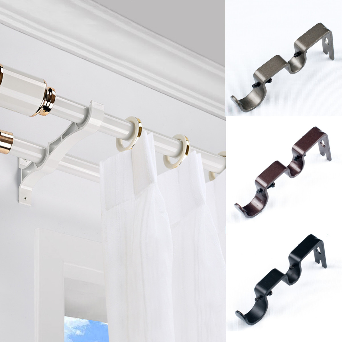 4 Colors Iron Heavy Double Window Curtain Rod Pole Holder