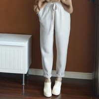Autumn Winter Soft Comfortable Cashmere Pants Female Soild Knitted Harem Pants Casual Loose Knitted Pants