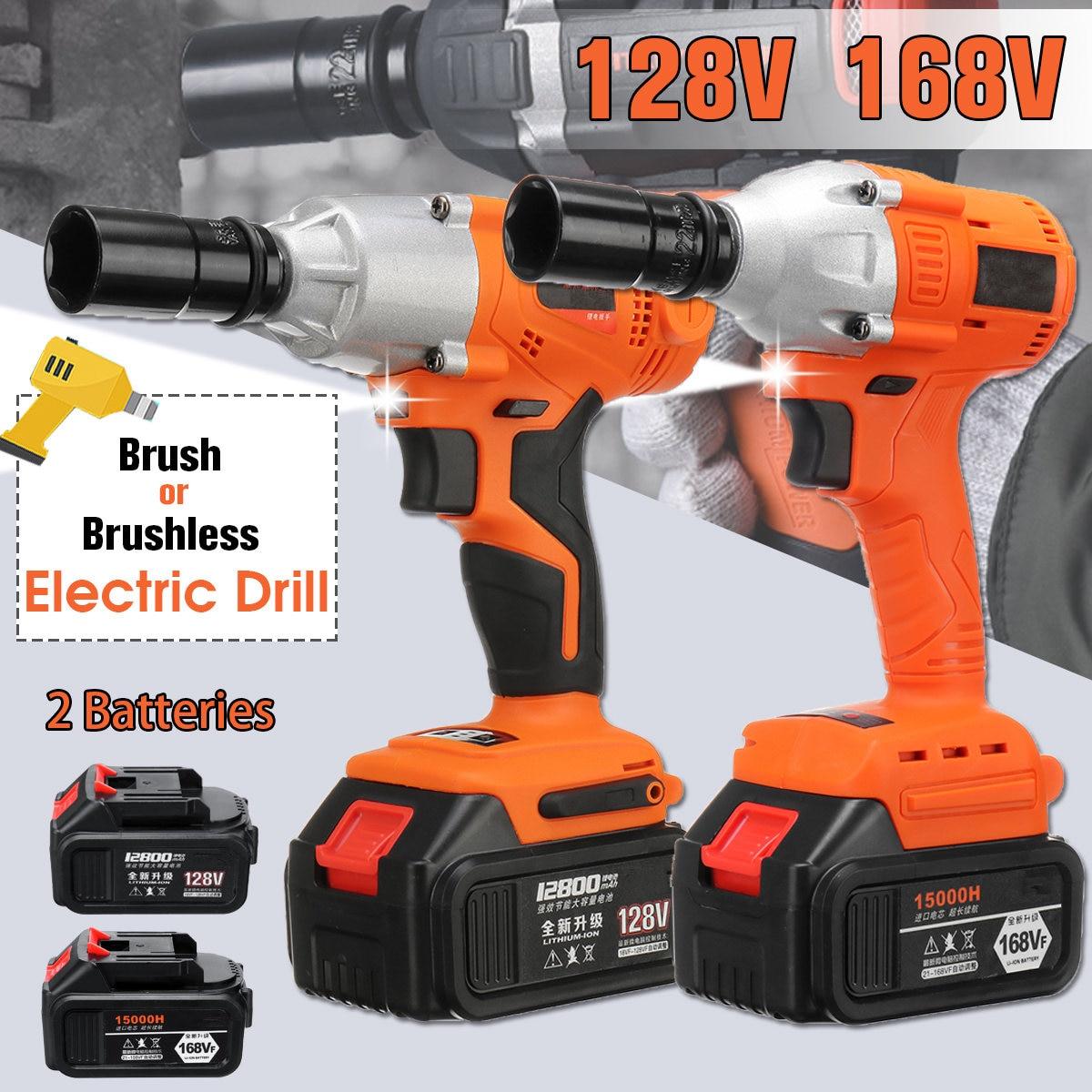 128 V 12800 mAh sans brosse sans fil clé électrique 2 Batteries Impact douille clé 168 V 15000 mAh 2 Type perceuse à main outils électriques