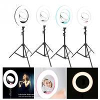 Makeup LED Flesh Selfie Ring Photography Lighting Video Live Diffuser Light with Tripod Makeup Light