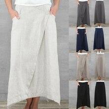 Celmia 2019 Summer Beach Maxi Skirts Vintage Women Linen Long Skirts Casual Loose Pockets Asymmetrical Hem Skirt Jupe Saia Femme недорого