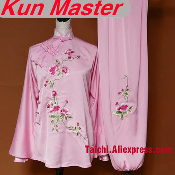 Lady Custom Tai Chi Performance Uniform Flower Embroidery  Martial Art Clothing  Oblique Collar Kung Fu Clothes Pink