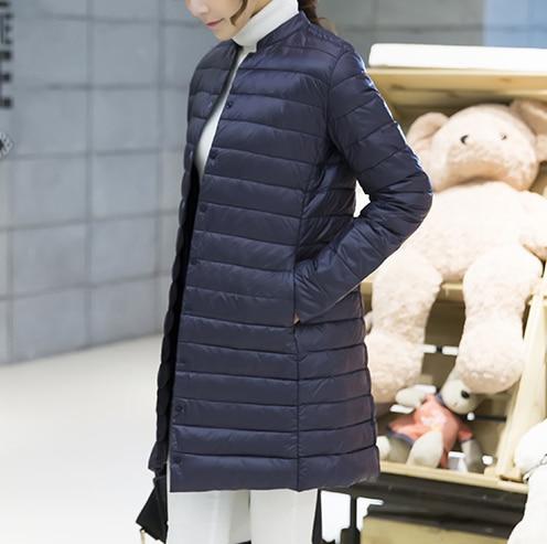 Woman Spring Padded Warm Coat Ultra Light Duck Down Jacket Long Female Overcoat Slim Solid Jackets Winter Coat Portable Parkas 3