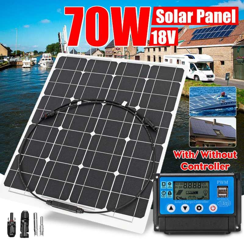Panneau solaire Semi-flexible de batterie solaire de 70 W 18 V + Kits de système solaire de contrôleur de 10/20/30/40/50A PWM pour le Camping de cabine de bateau de pêche