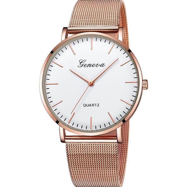 Relogio Feminino Geneva Women Watches Luxury Mesh Band Stainless Steel Analog Quartz Wristwatch Woman Lady Rose Gold Watch