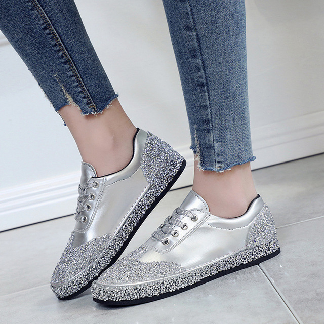 2018 New Spring Fashion Korean Crystal Glitter Fashion Sneakers Women  Casual Shoes Bling Lace-up Sequins Silver Red Women Shoes 04bfffae4b59