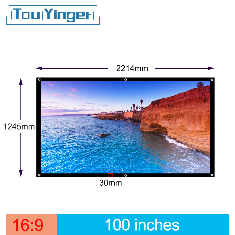 Touyinger 100 Inch 169 Outdoor Simple Portable Screen Travel Front & Rear projection screen Night Super thin projection screen