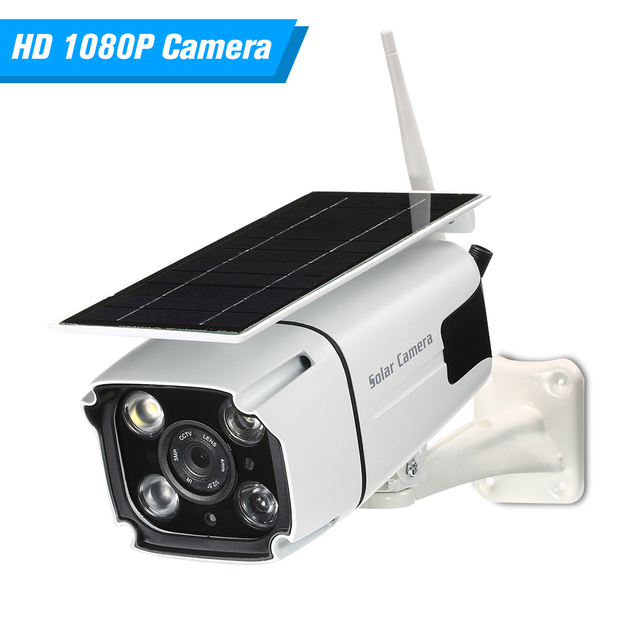 WIFI Wireless Waterproof Outdoor 1080P 2.0MP Solar Battery Power Low Power Consumption PIR Surveillance Security Camera